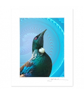 NZ Iconography, Tui Portrait: 6x8 Matted Print