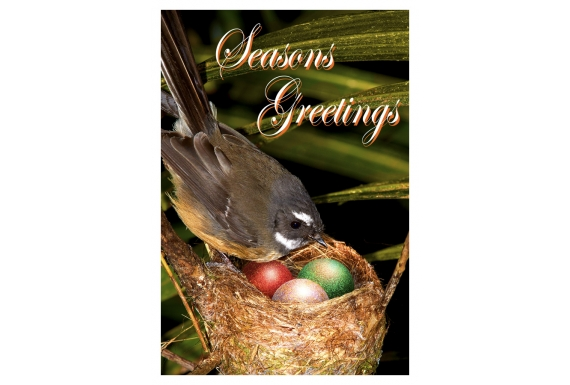 Fantail Mum with Chicks: Card