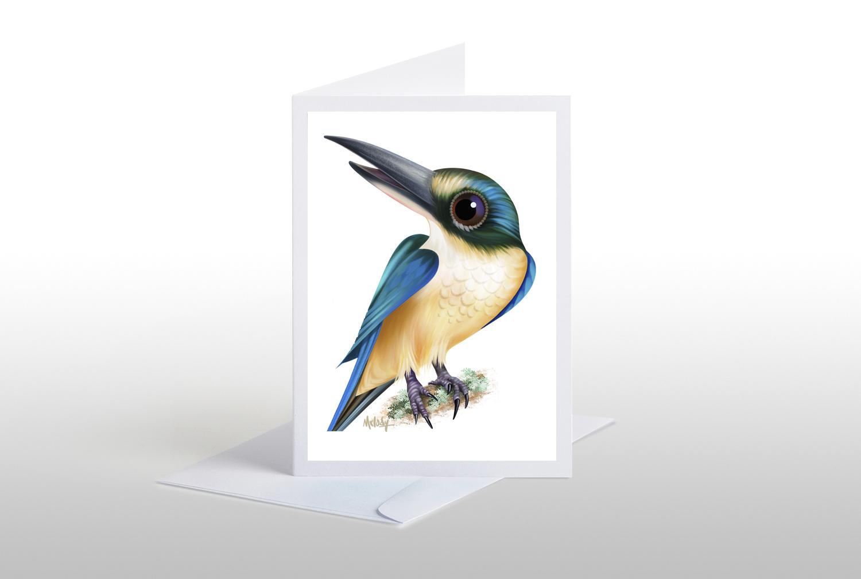 kotare sacred kingfisher card  wayfarer images